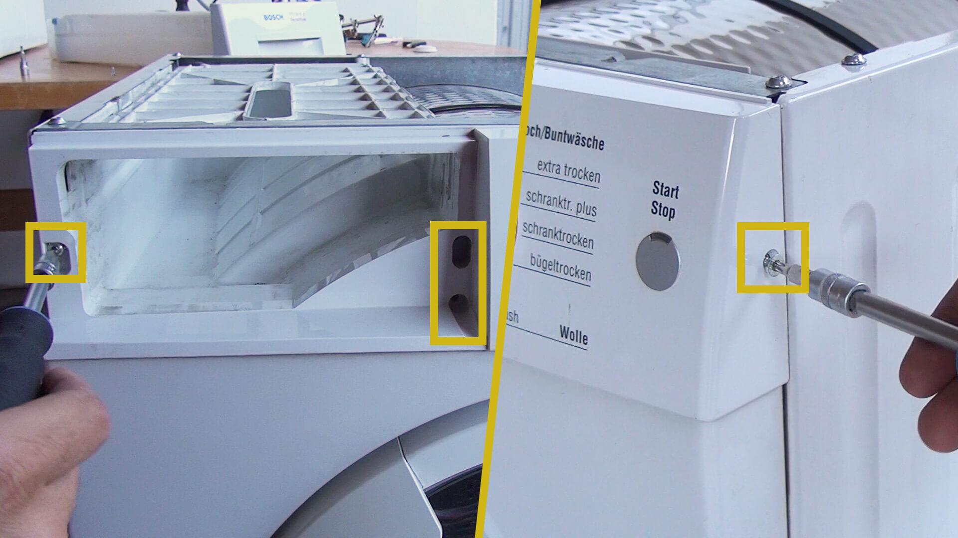 Bedienelement mit der Waschmaschine verschrauben